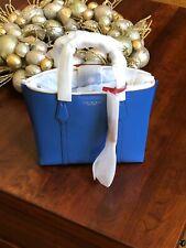 NWT Tory Burch Regal Blue Perry Small Triple Compartment Handbag