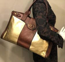 FOSSIL Vintage Reissue Weekender Brown Gold Leather Satchel Overnight Tote $288