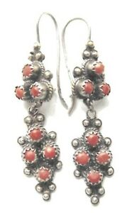 Handmade ancient look dark Silver and red coral Berber Earrings North Africa