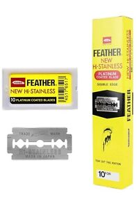 100 Feather Shaving Razor Blades Stainless Double Edge Original Made in Japan