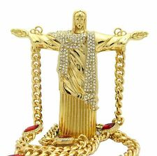 "Hip Hop Christ Redeemer Statue Pendant W/ 10mm 30"" Red Ruby Cuban Chain Necklace"
