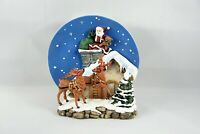 Santa on Roof Chimney Reindeer 3D Collector Plate A Christmas Remembered Holiday