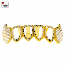 Men's Diamond CUT Grillz Fang Four Open Face Gold Plated Teeth Bottom S020 4F C4