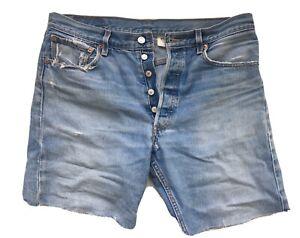 Vtg Levis Cut Offs Denim OG Jean Shorts 501XX Button Fly 35x34 Faded&Frayed