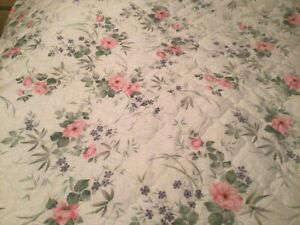 Vintage(New) Slumbalux Throwover Quilted Valanced Bedspread White/Floral
