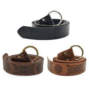 Medieval Embossed Viking Vegvisir Leather Belt Retro Renaissance Knight Belt
