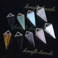 Natural Amethyst Quartz Crystal Triangle Awl Shape Stone Pendant Chain Necklace