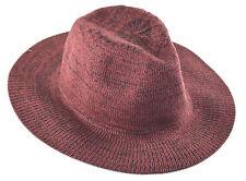D&Y Marled Knit Panama Hat Burgundy Maroon