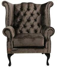 Chesterfield Armchair Queen Anne High Back Wing Chair Boutique Sable Velvet