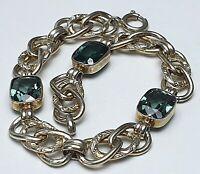 Um 1920 Art Deco Armband 830 Silber vergoldet 3 große grüne Topase besetzt /A886