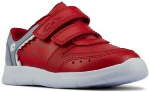 BNIB Clarks Boys SCAPE SCALE Red Leather Trainers