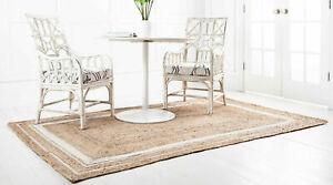 Natural Jute Rug For Home Decoration Modern White Dye Rectangle Rug 9 X 12 Feet