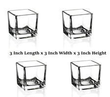 4x Brand New Empty Cube Glass Candle Making Jars Container Luxury Votive Square