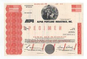 SPECIMEN - Alpha Portland Industries, Inc. Stock Certificate