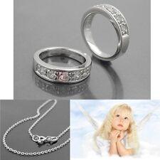 Juwelier Baby Taufe Zirkonia Trauring Echt Silber 925 mit Rundanker Kette 38 cm