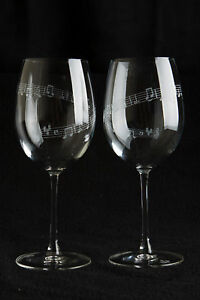 Set of 2 large Wine glasses 19oz - Spiral Music Notes - Graduation/Birthday Gift