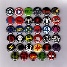 """MARVEL COMICS LOGOS 1"""" PINS / BUTTONS (avengers spiderman xmen iron man deadpool"""