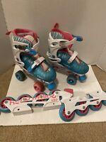 Roller Derby Inline Skates Pink/blu Zebra Print Quad Roller Combo Girls Size 3-6