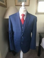 Brook Taverner Blue Check Super 80's Merino Wool  3 Piece Suit 44R 36SW 30IL