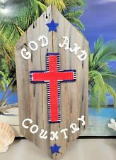 PATRIOTIC GOD AND COUNTRY CROSS WALL PLAQUE OLD GREY WEATHERED RECLAIMED WOOD