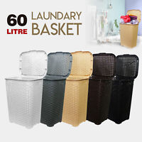 60L Large Woven Laundry Bin Basket Washing Clothes Storage Toys Accessory Hamper