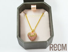 Juicy Couture Pave Heart Charm Wish Necklace Pink with box