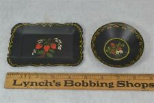 tole toleware tin miniature tray bowl hand painted doll house original replica