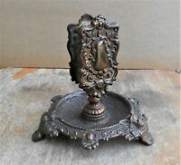 Vintage Antique Art Nouveau Iron Tobacco Cigarette Cigar Match Holder Ashtray