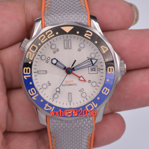 41mm bliger white Sterile dial GMT Sapphire glass Luminous Automatic men's watch