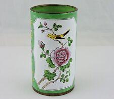 Cloisonne Cylinder Vase Pen/Bruch Holder Chinese Lotus Flower Bird Hand Painted