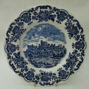 Enoch Wedgwood Royal Homes Windsor Castle Vintage Blue Transferware Dinner Plate