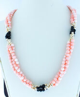 14K Gold Bead Necklace-Round Natural Coral Strand Necklace Wt Coral and Onyx 15""