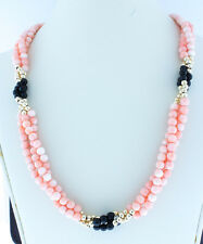 """14K Gold Bead Necklace-Round Natural Coral Strand Necklace Wt Coral and Onyx 15"""""""