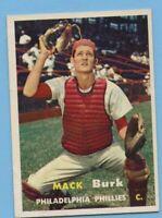1957 Topps Baseball Card #91 Mack Burk - Philadelphia Phillies (EM)