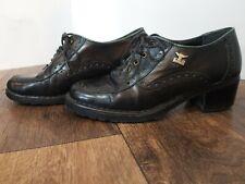 Vintage 1970s Joe Sanchez Black Leather Oxford Heels shoes Women's Sz 7M
