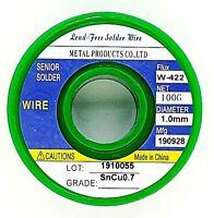 "Tin Solder Wire .039"" / 1.0mm Lead Free Rosin Core Soldering Sn99.3 Cu0.7 3.5oz"