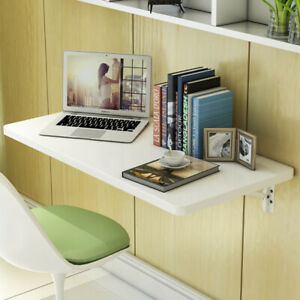 US STOCK Wall Mounted Floating Office Computer Desk Storage Home Furniture White