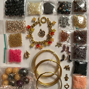 Necklace Bracelet making bundle beading wire golden findings charms glass beads