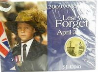 .2009 ANZAC DAY $1 UNC COIN PACK. MINT IN UNOPENED SLEEVE.