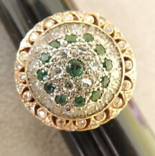 Jewelry Vintage Women's 14k Gold Ring Emerald Diamond Cluster Brilliant Cut   5