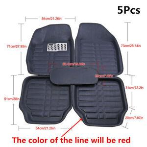 Full Set Car Floor Liner Black PU Leather Non-slip Carpet 5Pcs All Weather Mat