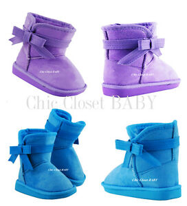 Baby Girls Infant Slip On Crib shoes Winter Faux Fur Ankle Booties Toddler Snow
