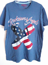 Rockstars & Angels blue x band aid usa flag stars and stripe t shirt size large
