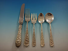 Rose by Stieff Sterling Silver Flatware Set Service 33 Pieces Repousse