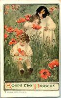 "Vtg 1913 Jessie WIlcox Smith Postcard ""Among The Poppies"""