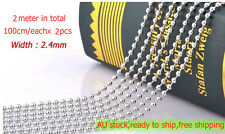 2pcs(2m) StainlessSteel Ball Chain Connector Key Chain Scrapbooking Ring Tag