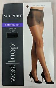 West Loop Sheer Toe Panty Nylon Spandex Leg Pantyhose Off Black Size C New