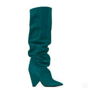 Mid Calf Knee High Cone Heel Pointy Toe Slouchy Rhinestone Women's Pull On Boots