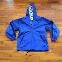 NIKE Mens Blue 1/2 Half Zip Windbreaker Jacket Sz M Swoosh Front Pocket Hooded