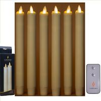 Luminara Flameless Moving Flame Wine Red Color Taper/dinner XMAS LED Candle 6PCS